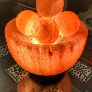 Bowl Himalayan Salt Lamp with Massage Balls