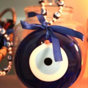 Evil Eye Glass Décor with Beads