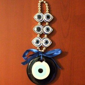 Evil Eye Glass Décor with Hearts